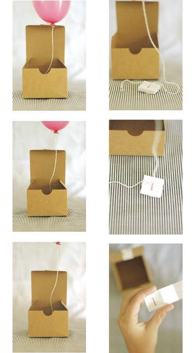 Balloon in a box invitation